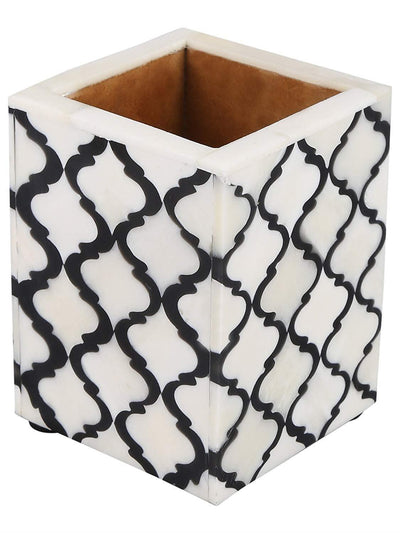 Moroccan Pattern Pen & Pencil Holder Caddy Desk Cup - Black-White