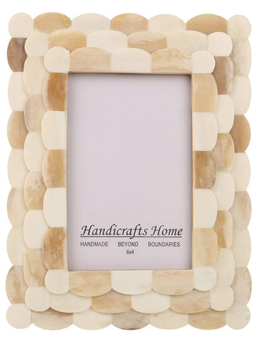Photo Frame Scalloped Arts Inspired Bone Inlay Ivory - 4x6
