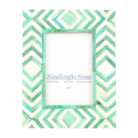 4x6 Photo Frame Green Mosaic - Chevron