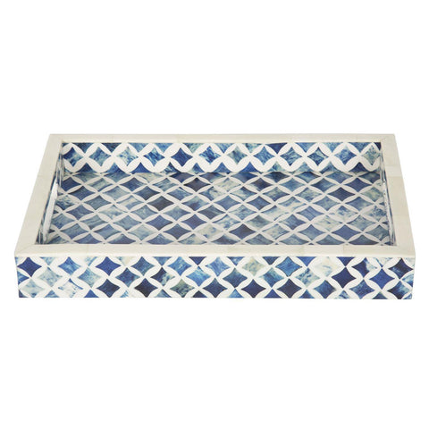 12x8 Indigo Decorative Tray Breakfast Coffee Table Top Serving Tray