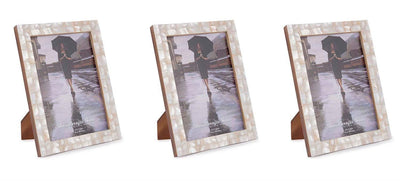 White Mother of pearle Photo Frames - Set of 3