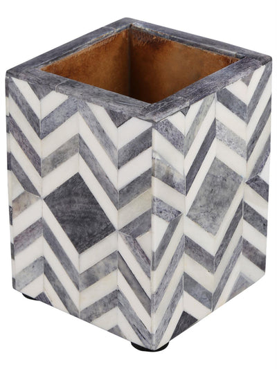 Pen Holder Moroccan Art Inspired Caddy Pencil Cup - Slate White - Chevron