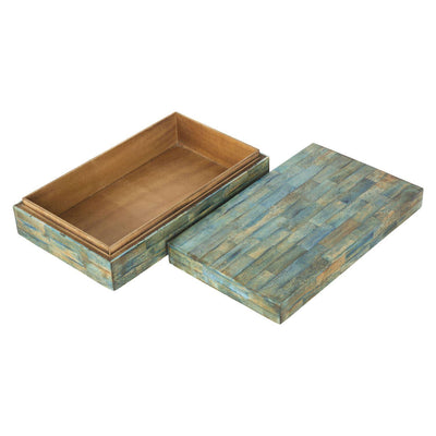 Verdigris Covered Keepsake Decorative Storage Box - Medium