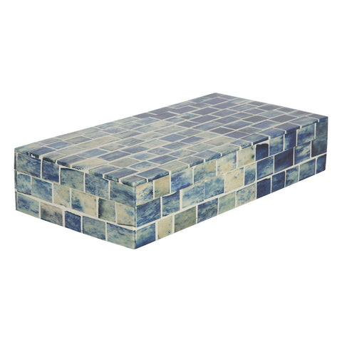 Indigo Mosaic Decorative Jewelry Storage Organizer Box - Medium