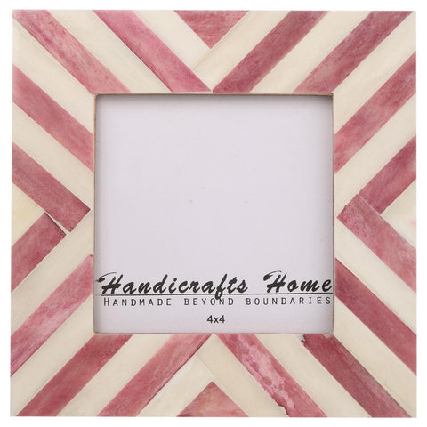 4x4 Picture Frames Chevron Pattern Bone Inlay - Purple