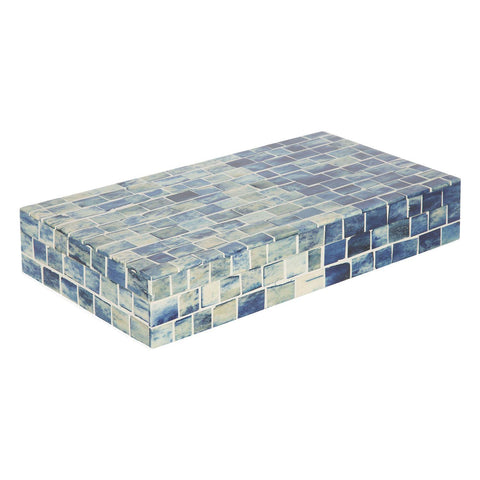 Indigo Mosaic Decorative Jewelry Storage Organizer Box - Large