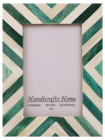 Picture Frames Chevron Pattern Bone Inlay 4x6 - Green