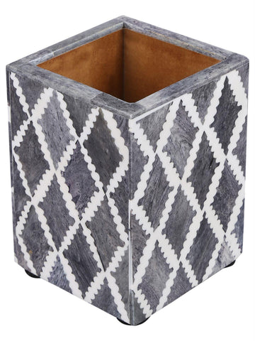 Pen Holder Moroccan Art Inspired Caddy Pencil Cup - Slate White - Diamond