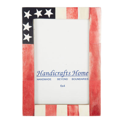 USA American Flag Picture Photo Frame Handmade Souvenirs - 4X6 Inches