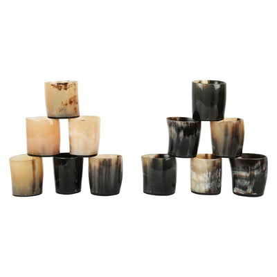 Antique Whiskey Shot Glass Cup Whisky Real Horn Vintage - Set of 12
