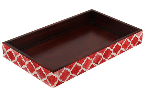 Bathroom Vanity Organizer Makeup & Beauty Products Tray - Red - White