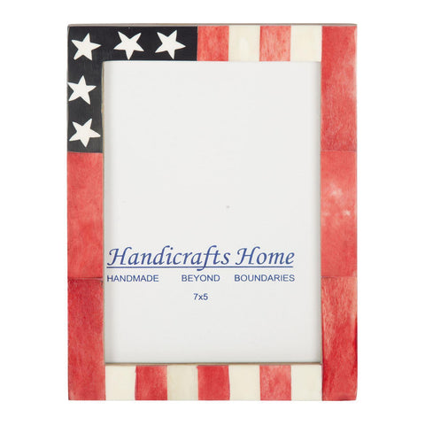USA American Flag Picture Photo Frame Handmade Souvenirs - 5x7 Inches