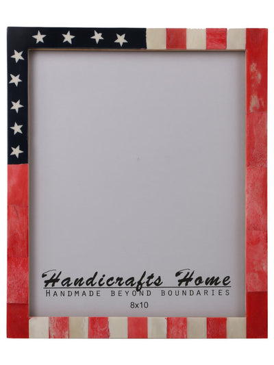 USA American Flag Picture Photo Frame Handmade Souvenirs - 8x10 Inches