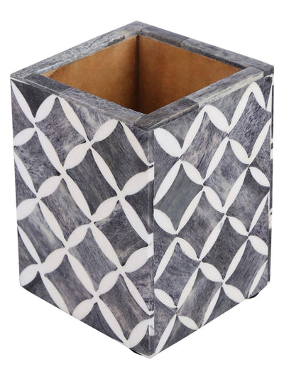 Pen Holder Moroccan Art Inspired Caddy Pencil Cup - Slate White - Star