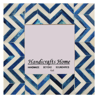 4x6 Picture Frames Chevron Pattern Bone Inlay - Blue