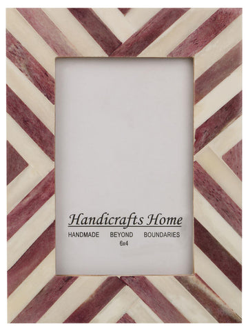 Picture Frames Chevron Pattern Bone Inlay 4x6 - Purple