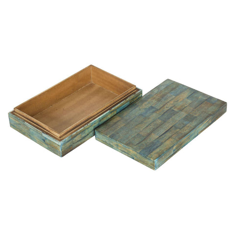 Verdigris Covered Keepsake Decorative Storage Box - Large