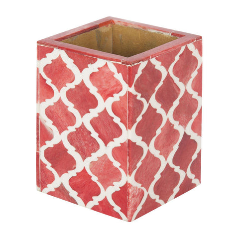 Moroccan Pattern Pen & Pencil Holder Caddy Desk Cup - Red