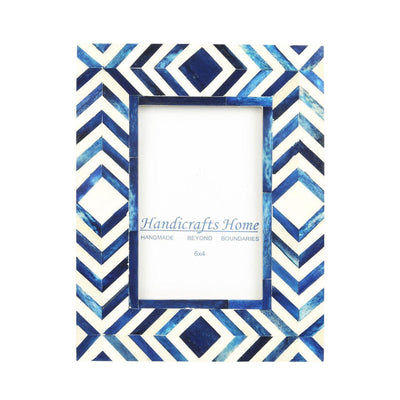 4x6 Photo Frame Blue Mosaic - Chevron