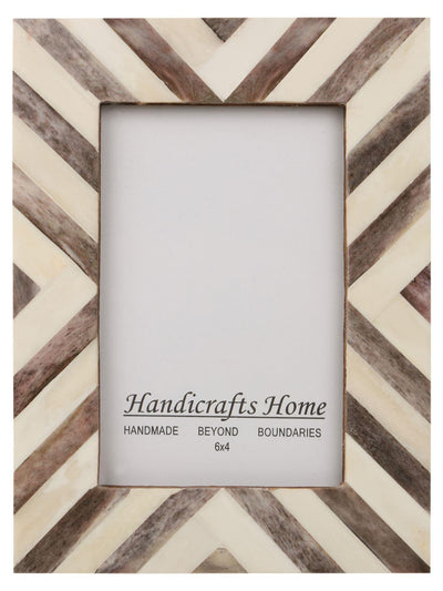 Picture Frames Chevron Pattern Bone Inlay 4x6 - Brown