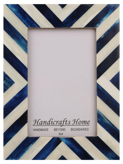 Picture Frames Chevron Pattern Bone Inlay 4x6 - Blue