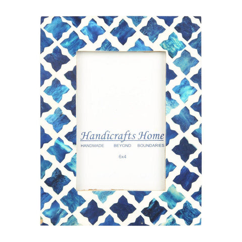 4x6 Photo Frame Blue Mosaic - Quatrefoil