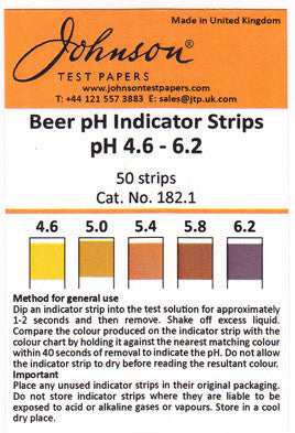 Johnsons BEER pH indicator strips
