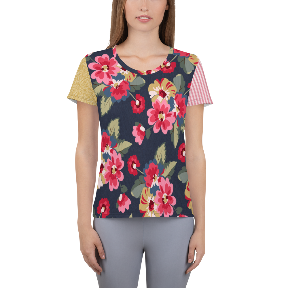 Country Rose Floral Athletic Top