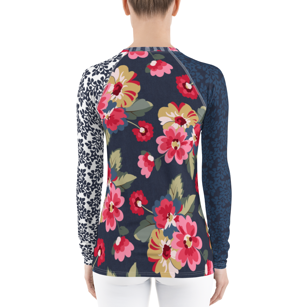 Miranda Floral Stripe Rash Guard