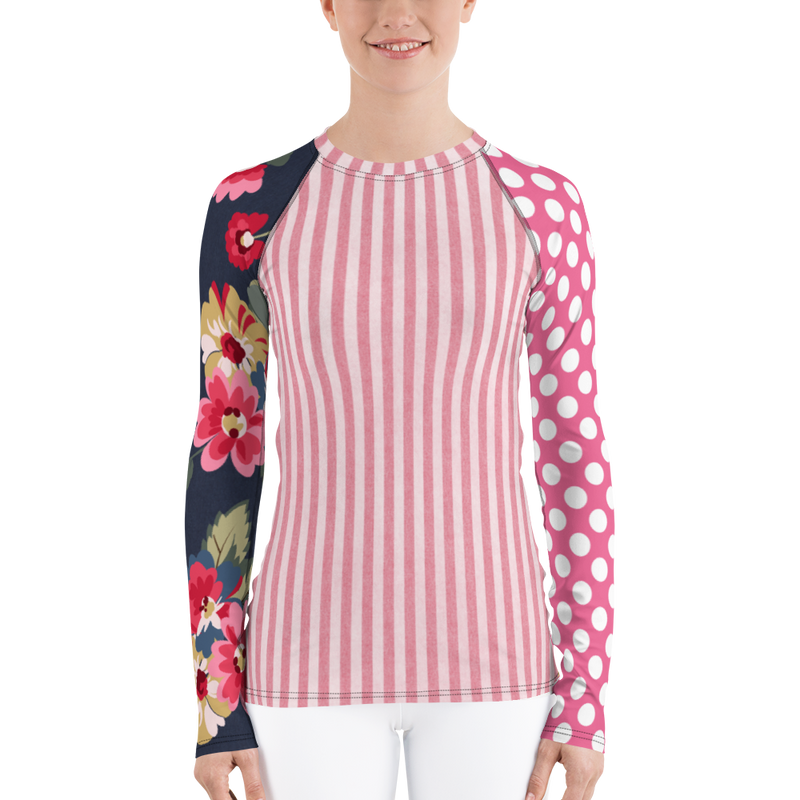 Country Rose Stripe Rash Guard