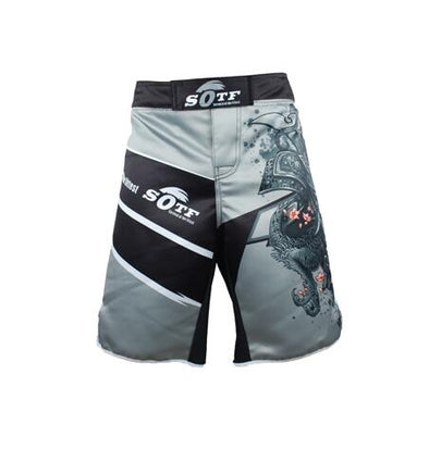 Japanese Warrior Boxing Shorts - Gray