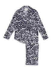 THE LONG SET - LEOPARD ON NAVY - 100% ORGANIC COTTON PYJAMAS