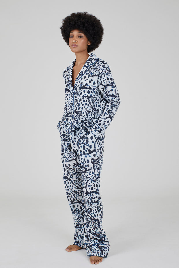 THE LONG SET - LEOPARD ON WHITE - 100% ORGANIC COTTON PYJAMAS