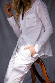Moon and Mellow Pure White Long Set, Luxury Nightwear, Feminine Sleepwear, Designer Loungewear