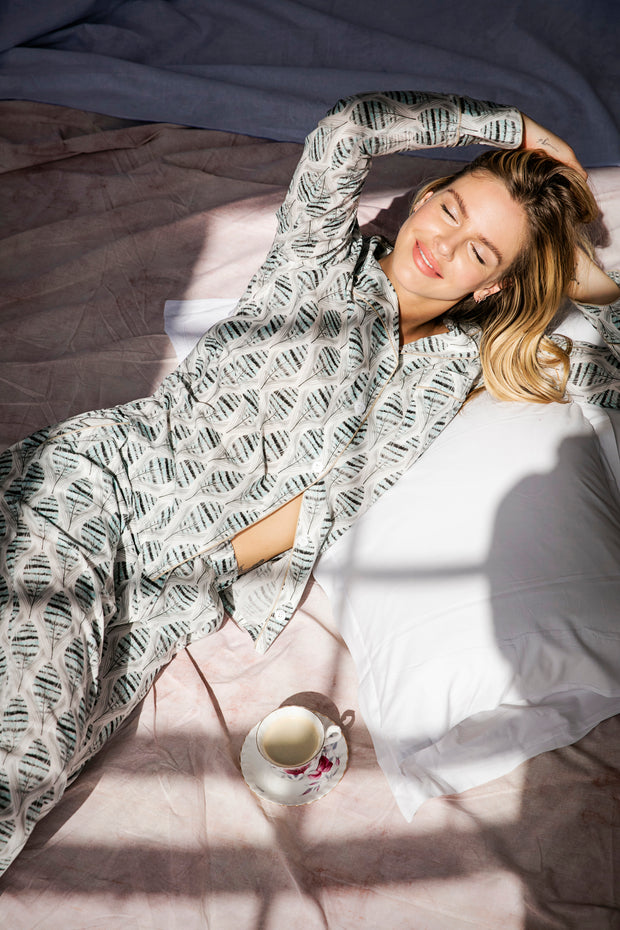 Moon and Mellow Feather Long Set Pyjamas Pippa O'Connor, Sleep, Beautiful Sleepwear, Best Nights Sleep, Soft Cotton Pyjamas