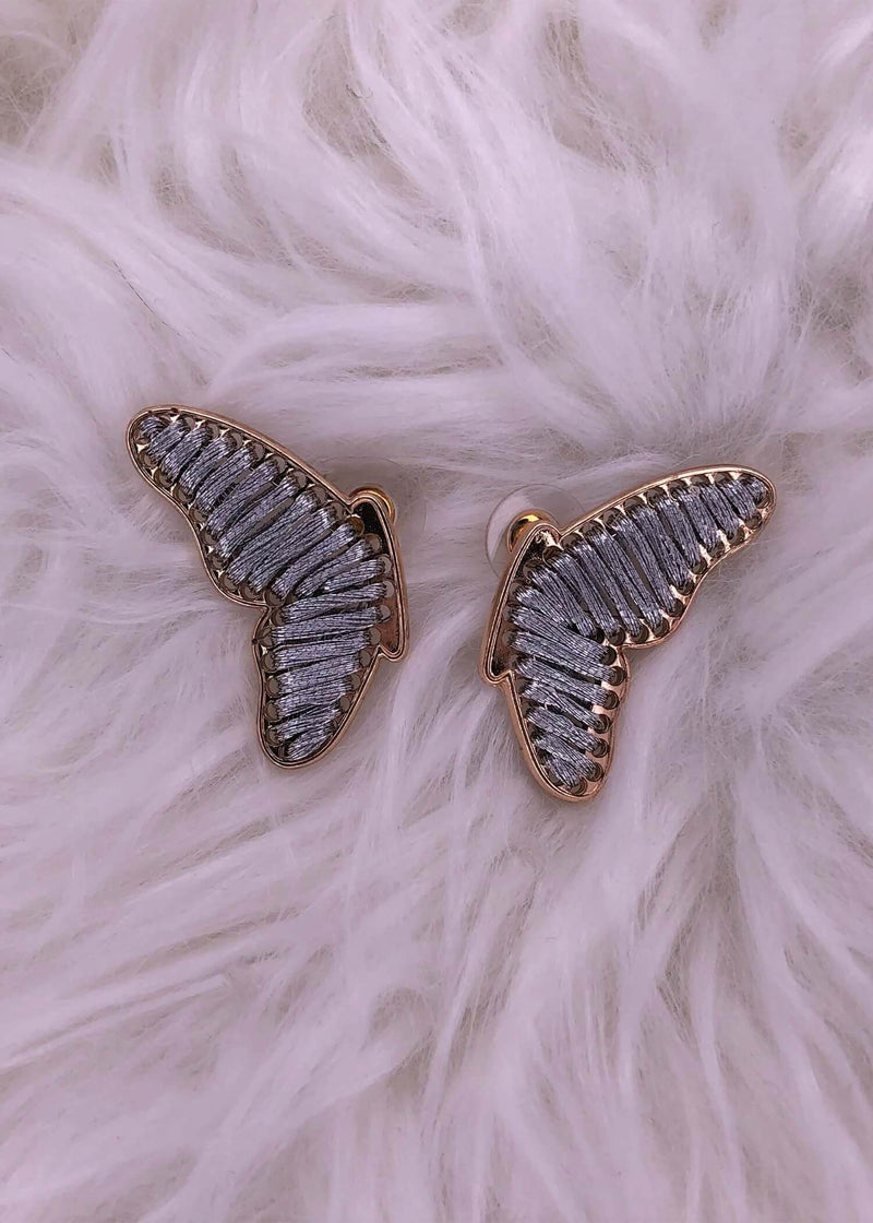 Potter Thread Wrapped Butterfly Wing Post Earrings