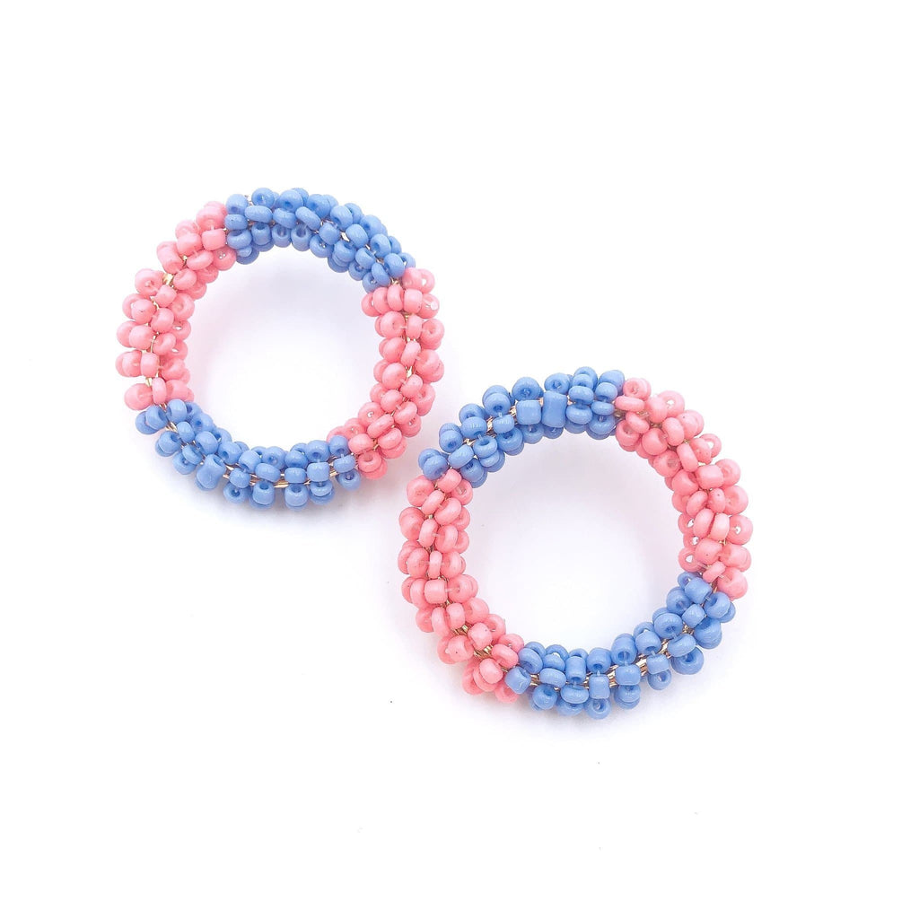 Spring Is Calling Beaded Earrings - Pink/Blue