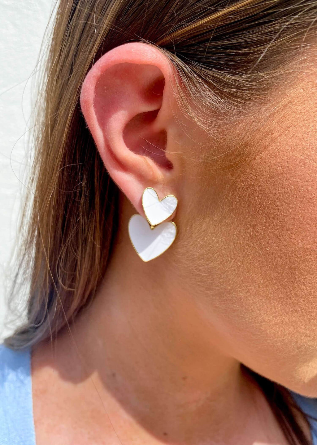 Double The Love Earrings - White