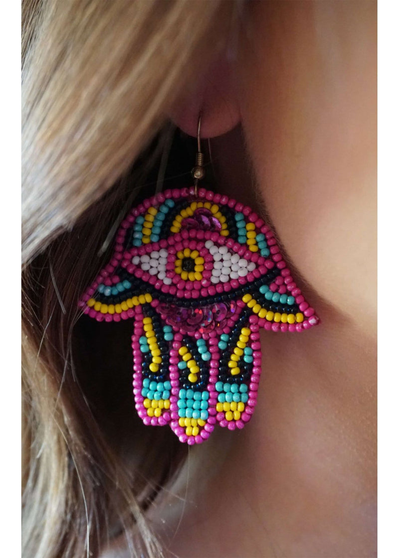 McCrary Seed Bead and Sequin Hand and Eye Earring Hot Pink