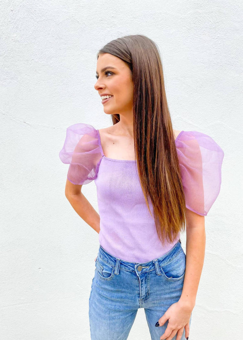 Statement Made Puff Sleeve Top - Lilac
