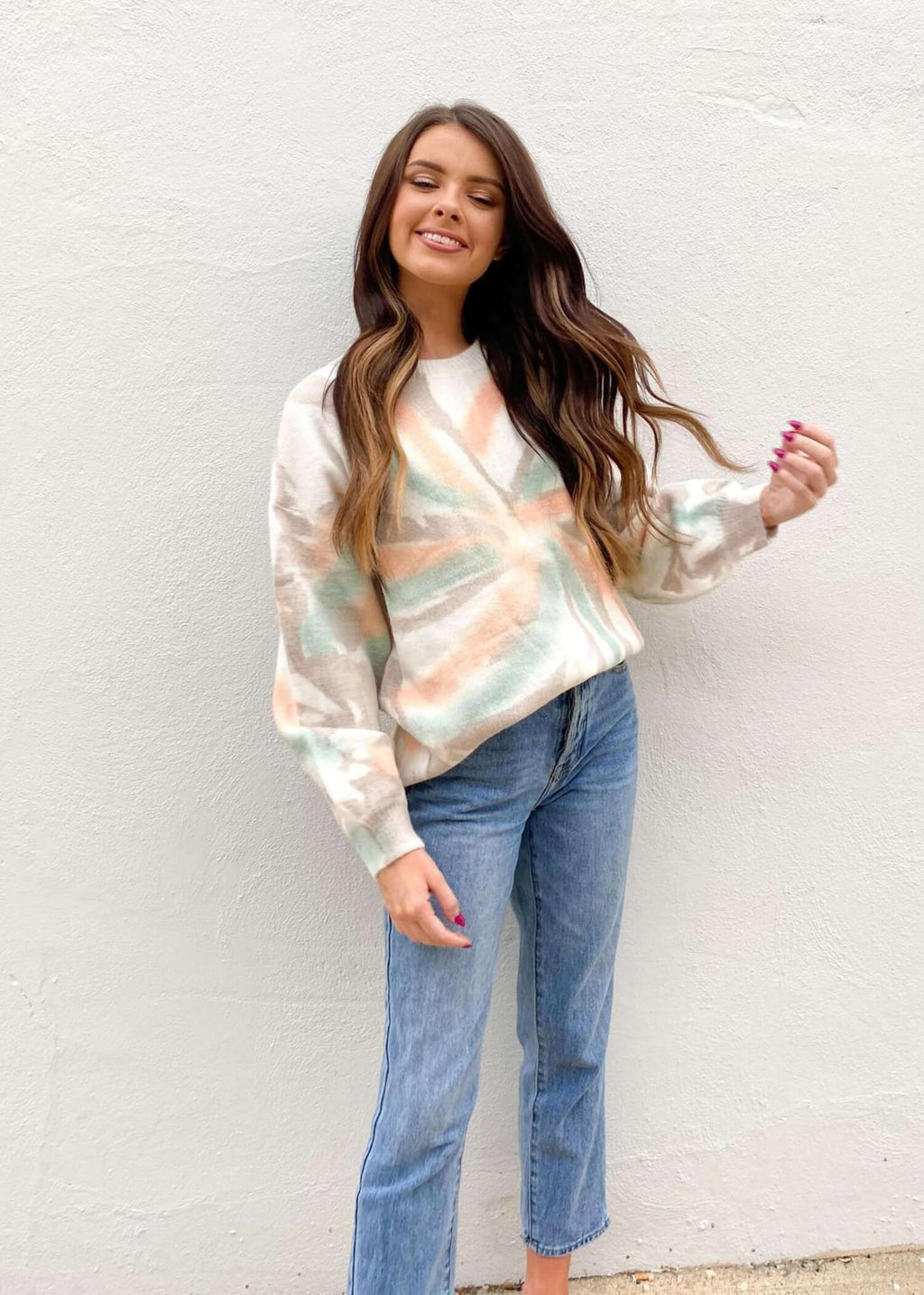 Cuddle Me Up Sweater - Cream/Tie Dye Multi