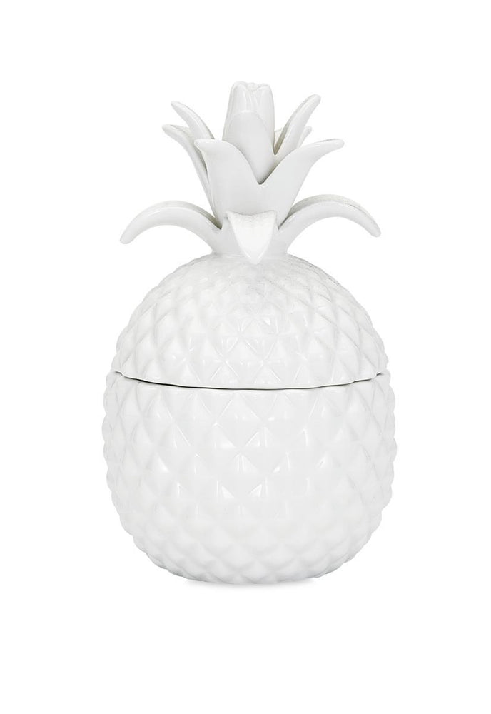 Island Pina Colada Candle in a Ceramic Pineapple! - Featuring Real Island Hibiscus Blossoms!