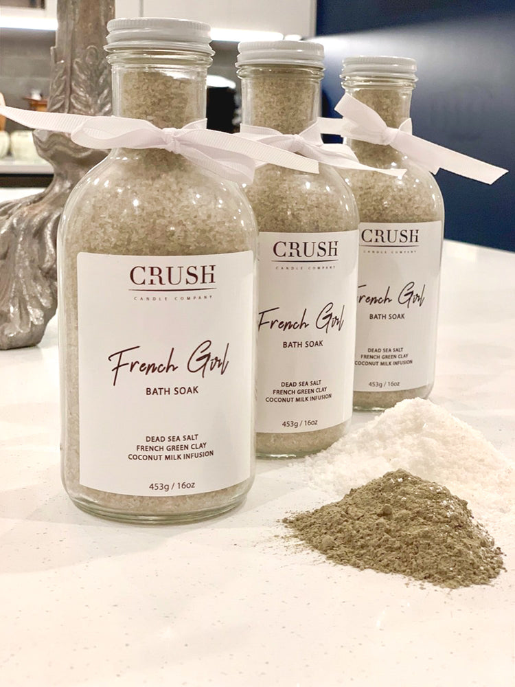 FRENCH GIRL Bath Soak ~ Featuring dead sea salt and French green clay with Coconut milk infusion