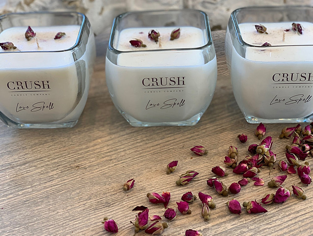 Love Spell Candle - Featuring Tiny Wild Rose Buds on TOP!!