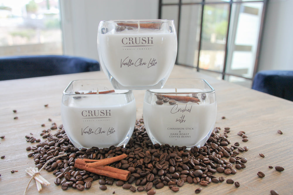 Vanilla Chai Latte Candle - Featuring Whole Dark Roast Coffee Beans & a Cinnamon Stick