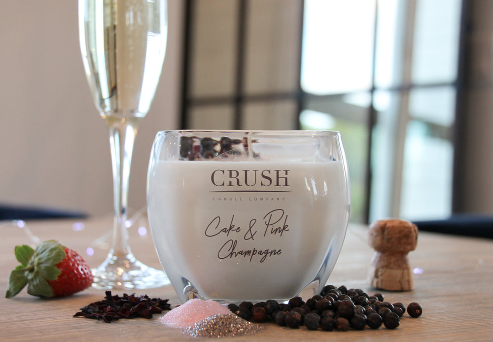 Cake & Pink Champagne Candle - Featuring Sparkling Dried Berries