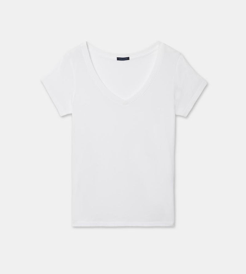 Cotton v neck tee (white)