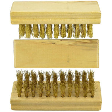 Wooden Block Brass Suede Brush