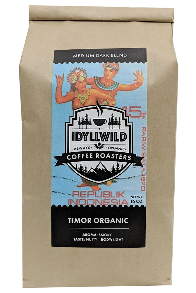 Timor Organic Coffee – Medium/Dark Blend; full bodied rich and smooth finish.