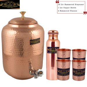 Crockery Wala And Company Pure Copper Water Dispenser Bottle Glass Copper Drinkware || 16 Ltr Dispenser + 1 Copper Bottle + 4 Glasses